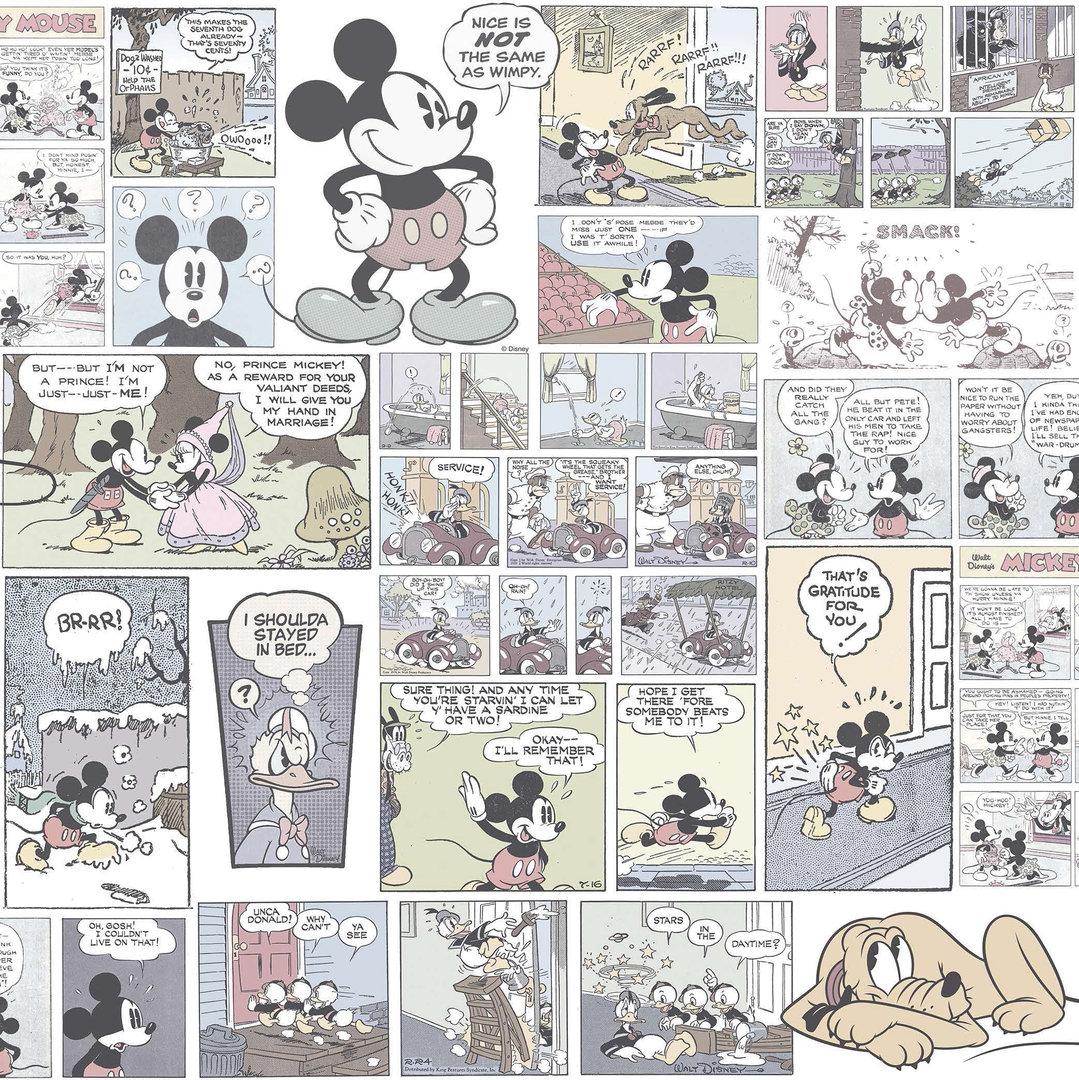 Disney tapete 3011 2 mickey mouse farbig blass ein for Tapete farbig