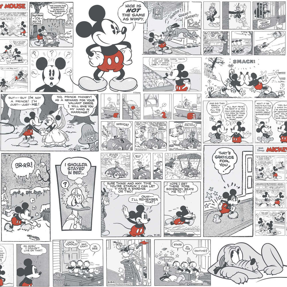 disney tapete 3011-3 mickey mouse halb farbig - disney shop store in