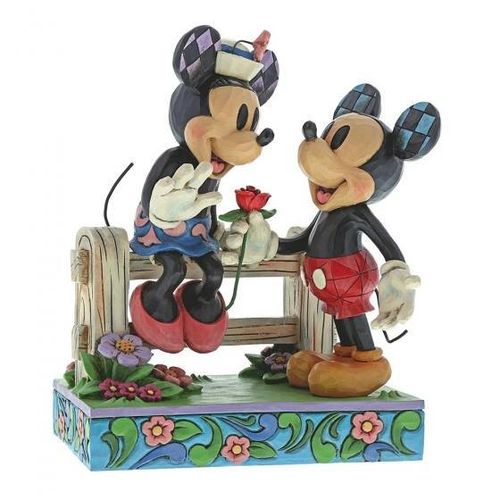 disney Enesco Traditions Jim Shore Mickey & Minnie Mouse Romantisch mit rose