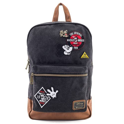 Disney Mickey Mouse Loungefly Patches Denim Rucksack