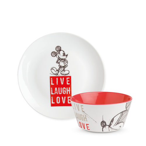 Disney Egan Geschirr LIVE LAUGH LOVE : Dessert Teller & Müslischale Mickey Mouse rot