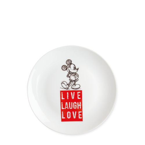 Disney Egan Geschirr LIVE LAUGH LOVE : Dessert Teller Mickey Mouse rot