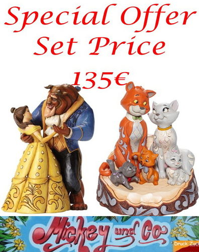Disney Enesco Traditions Figur Jim Shore 4049619 Monnlight Walz & 6007057 Aristocats Carved by Heart