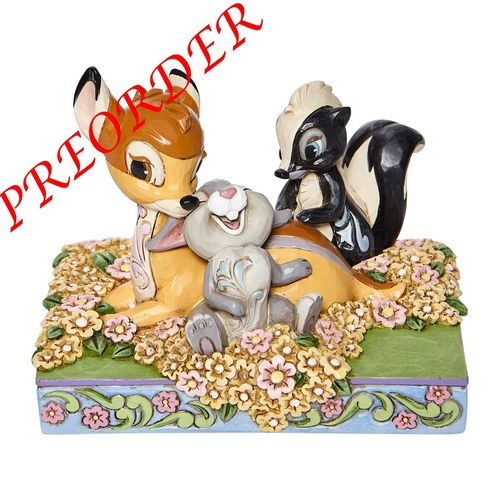 Disney Enesco Traditions Jim Shore  Bambi and Friends in Flowers 6008318